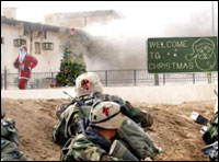 Atheist and Jewish soldiers attack Christmas defenders in Christmas, AZ.
