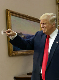 President Trump scratched at a spot on the wall for over an hour.