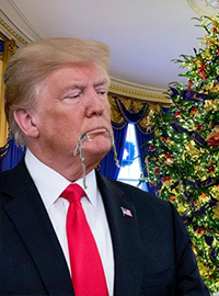 Trump was photographed earlier this month with tinsel hanging from his mouth leading many to believe that he has been eating the decorations.